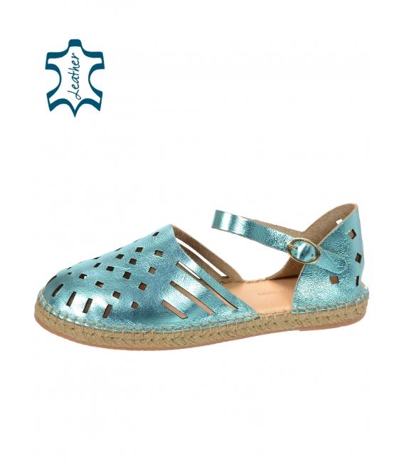 Žiarivé modré pohodlné kožené sandále s viazaním okolo nohy 016-5005