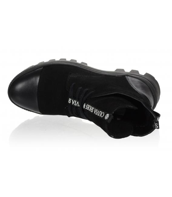 Čierne pohodlné členkové čižmy s ozdobným pásikom OL DKO2178