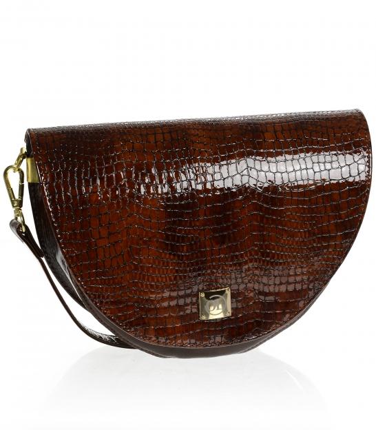 Tmavo hnedá malá elegantná kabelka s kroko vzorom a remienkom Olivia Horseshoe