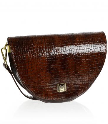 Tmavě hnědá malá elegantní kabelka s kroko vzorem a řemínkem Olivia Horseshoe