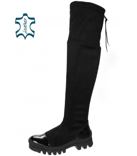 Čierne lesklé vysoké workery s kroko vzorom DCI2160