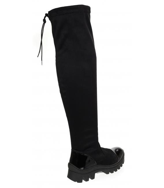 Čierne čižmy s lakovanou špičkou a sárou nad kolená DCI3211