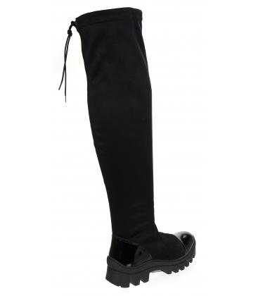Černá čižmy s lakovanou špičkou a sárou nad kolenou DCI3211