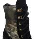Černo zlaté kotníkové kozačky s tmavě zlatým hadím vzorem na hrubém černém podpatku K2174