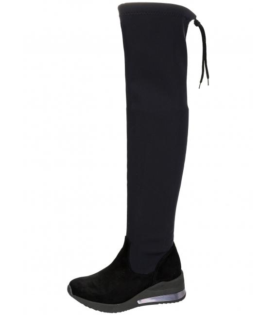 Čierne elastické čižmy s vysokou sárou nad kolená OL DCI029/1