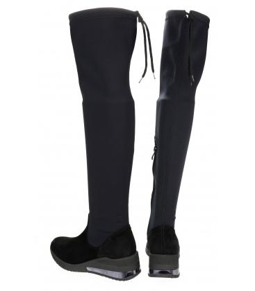 Černé elastické kozačky s vysokou holenní částí nad kolena OL DCI029 / 1