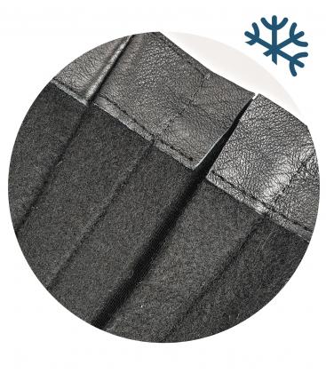 Čierne členkové čižmy so zlatým monogramom OL na hrubom podpätku DKO2180