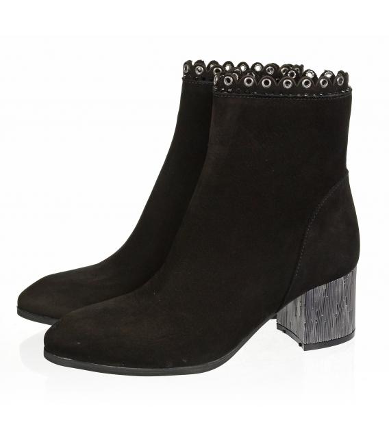 Černé elegantní matné kotníkové boty s metalickým podpatkem 1953303K