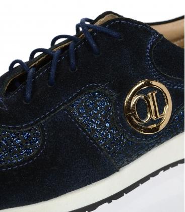 Modré trblietavé kožené tenisky K894