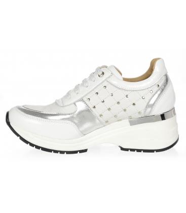 Bielo-strieborné štýlové tenisky s ozdobnými aplikáciami DTE3304