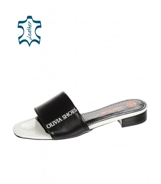 Bielo čierne jednosuché šľapky s lemom Olivia DSL 2218