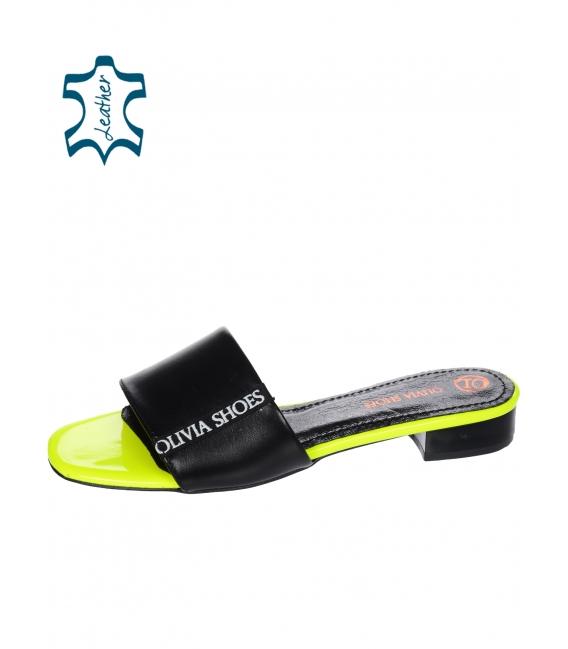 Černo neonové jednosuché pantofle s lemem Olivia DSL 2218