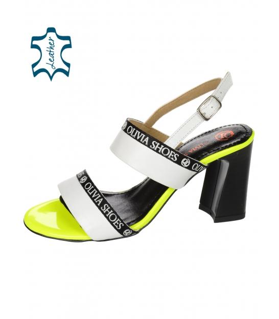 Bielo-čierne štýlové sandále s ozdobným lemom DSA2210