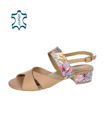 Béžové stylové sandály na pohodlném podpatku s květinovým potiskem DSA2221
