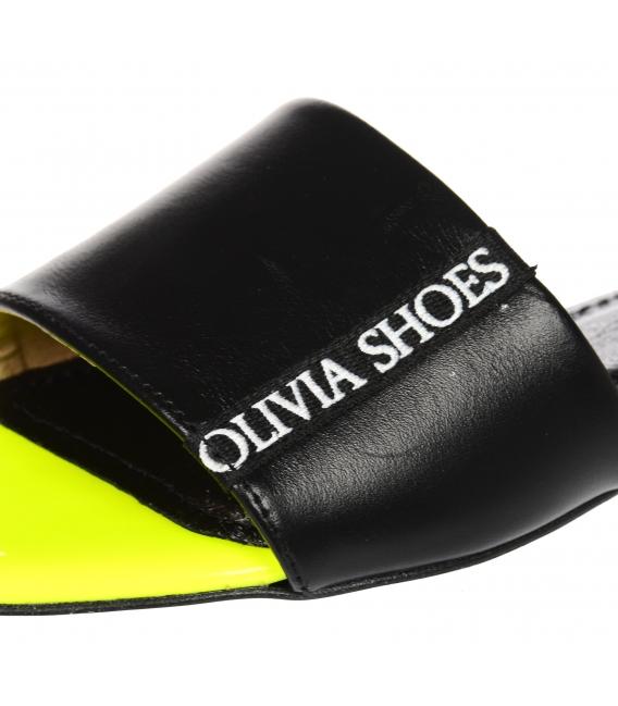 Čierno- neónové jednoduché šľapky s lemom Olivia DSL 2218
