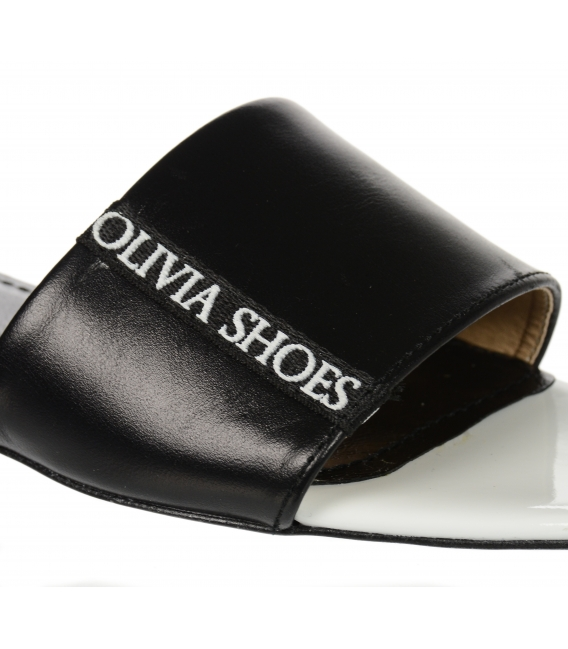 Bielo- čierne jednoduché šľapky s lemom Olivia DSL 2218