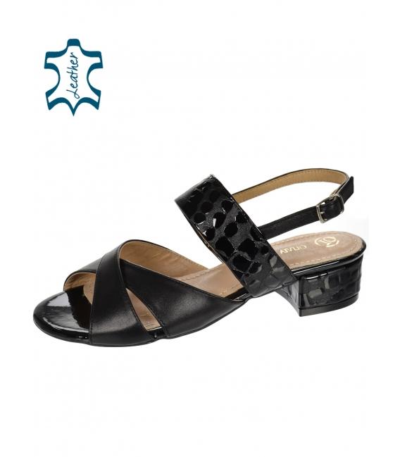 Čierne pohodlné sandále s kroko vzorom DSA2221