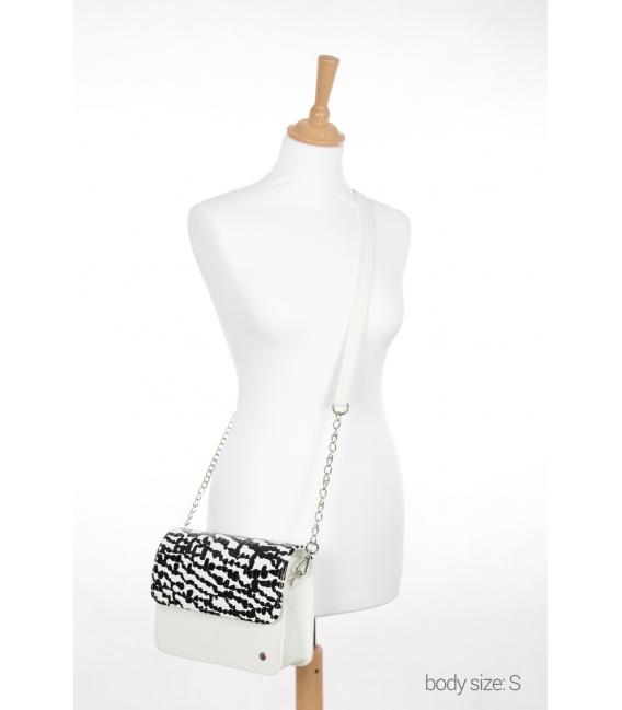 Biela kabelka s čiernym kroko vzorom BOBI