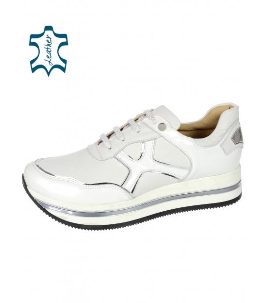 Bielo- strieborné tenisky so vzorom na podošve KARLA DTE3300