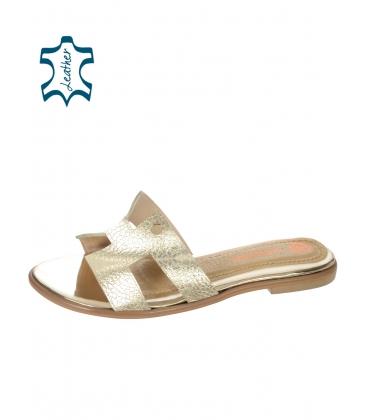 Zlaté pohodlné šľapky K2144