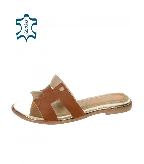 Hnedé pohodlné šľapky K2144
