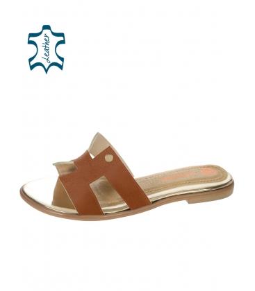 Hnědé pohodlné pantofle K2144