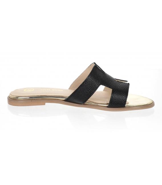 Černé pohodlné pantofle K2144