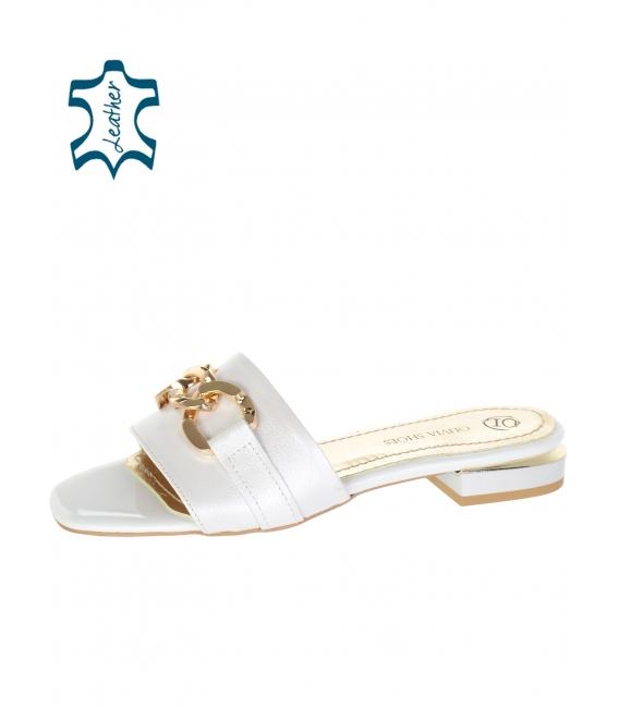 Béžové jednoduché pantofle s ozdobou DSL 2211