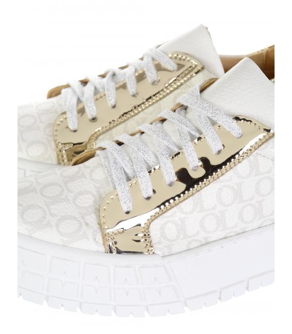 Bielo-strieborné tenisky s jemným monogramom HANZA DTE3317