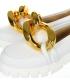 Bílé extravagantní baleríny s velkou ozdobou DBA2234