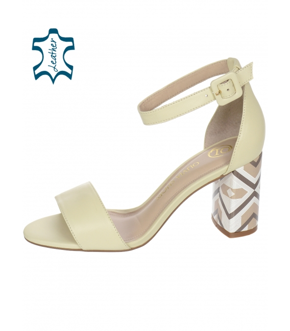 Biele sandále s farebným podpätkom 10210-203-649