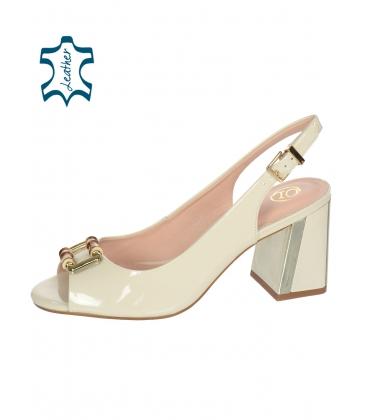 Bílé sandály s barevným podpatkem 10210-203-649
