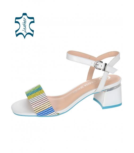 Bílo-modro-hnědé pohodlné sandály 1752-584-724