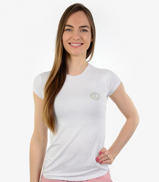 Čierne tričko so striebornými ozdobnými kamienkami OL