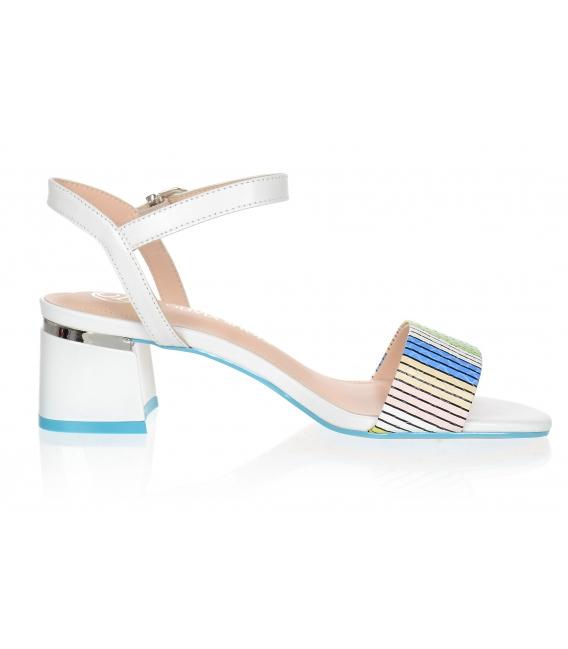Biele pohodlné sandále s farebným zvrškom 1967-512-724