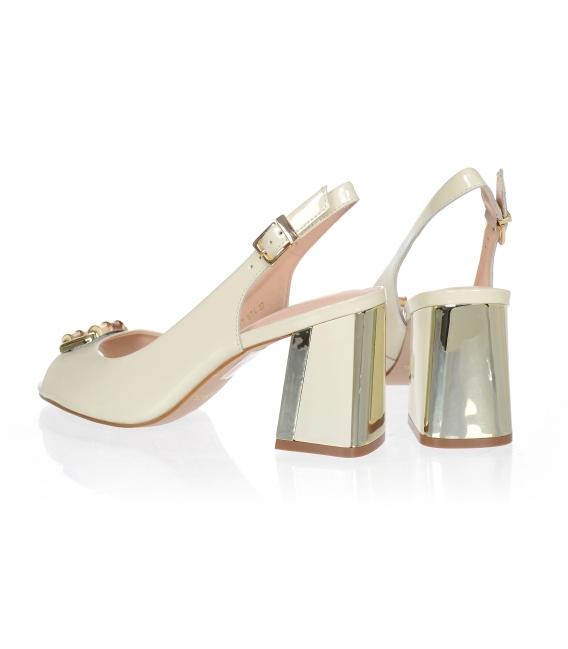 Béžové lakované elegantní sandály 10035-517-674