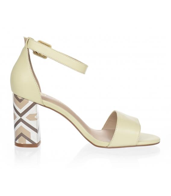 Béžové sandále s farebným podpätkom 10210-203-649