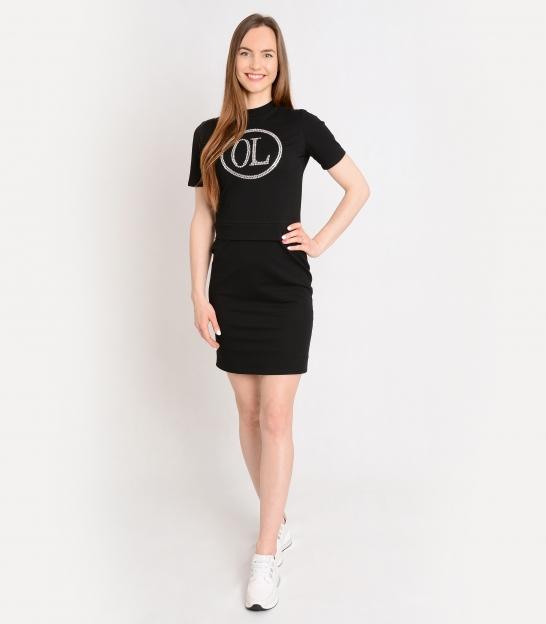 Čierne športové šaty s ozdobnými kamienkami OL ELISS