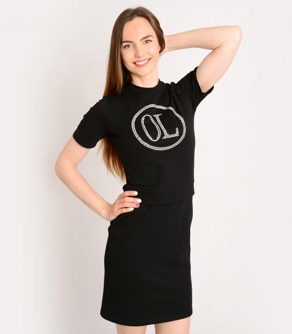Čierne športové šaty s ozdobnými kamienkami OL VANESA