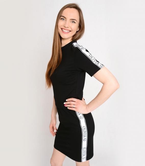 Černé sportovní šaty s ozdobnými pásy OL VERA