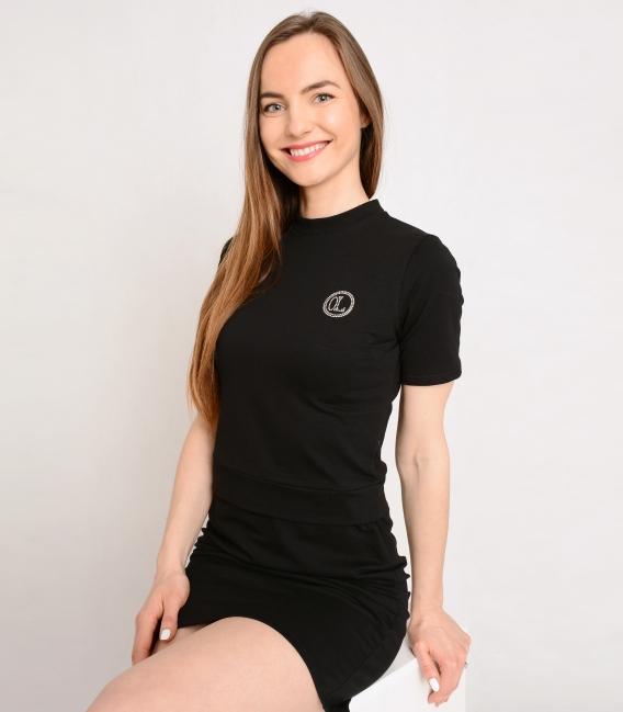 Černé sportovní šaty s ozdobnými kamínky OL Eliss