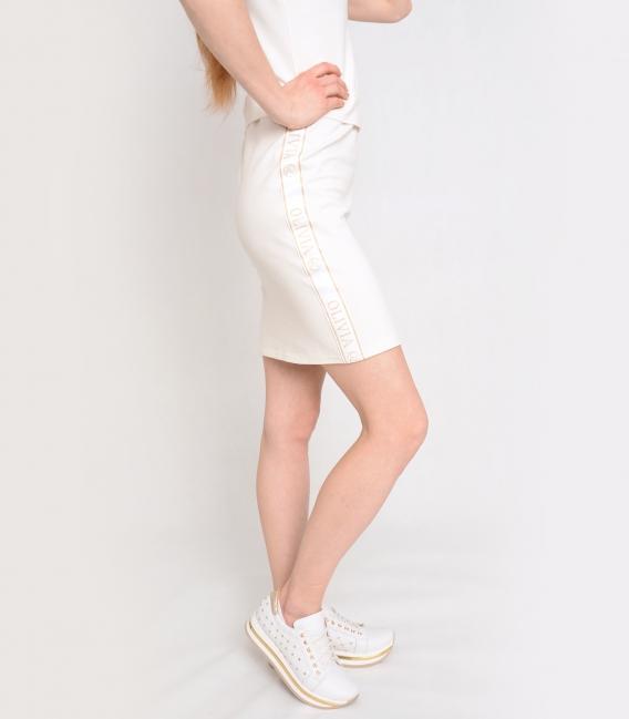 Krémové športové šaty s ozdobnými pásmi OL VERA