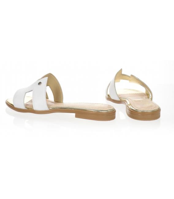 Biele pohodlné šľapky K2144