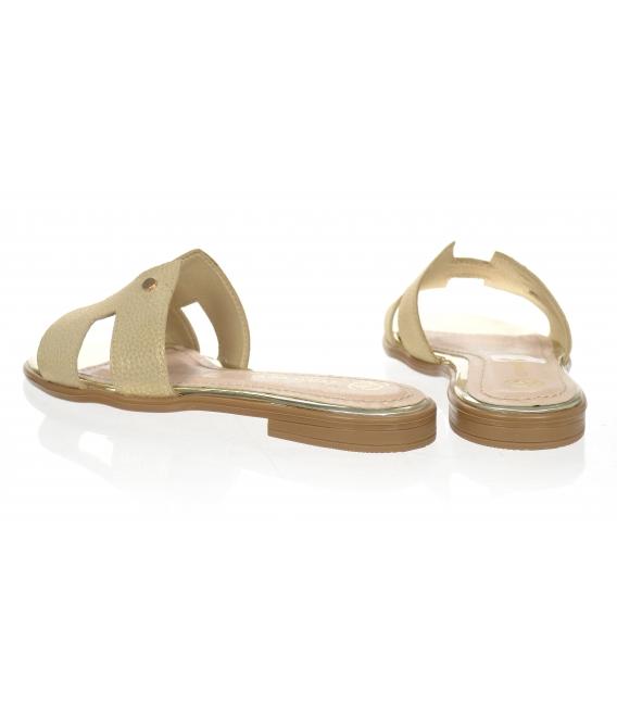 Zlaté pohodlné pantofle K2144