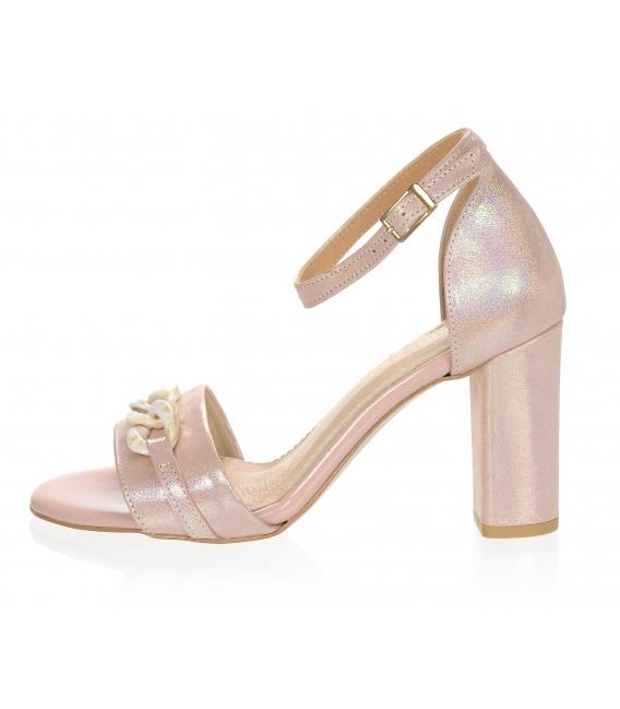 Růžové metalické sandály s vysokým podpatkem a ozdobou DSA2050