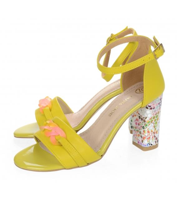 Žlté sandále s vysokým vzorovaným podpätkom a ozdobou DSA2050