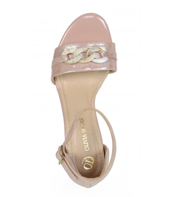 Ružové metalické sandále s vysokým podpätkom a ozdobou DSA2050
