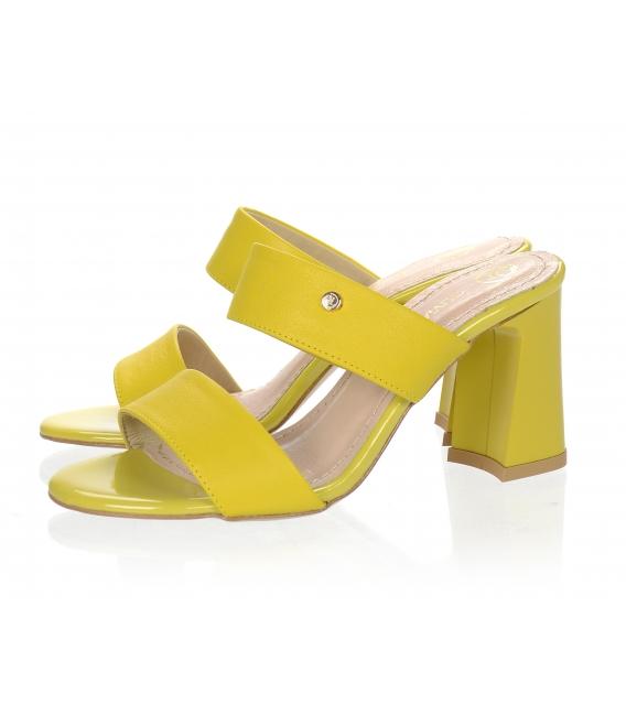Žlté elegantné šľapky na vysokom podpätku DSL2259
