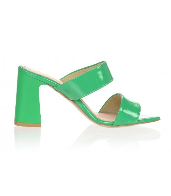 Zelené elegantné šľapky na vysokom podpätku DSL2259