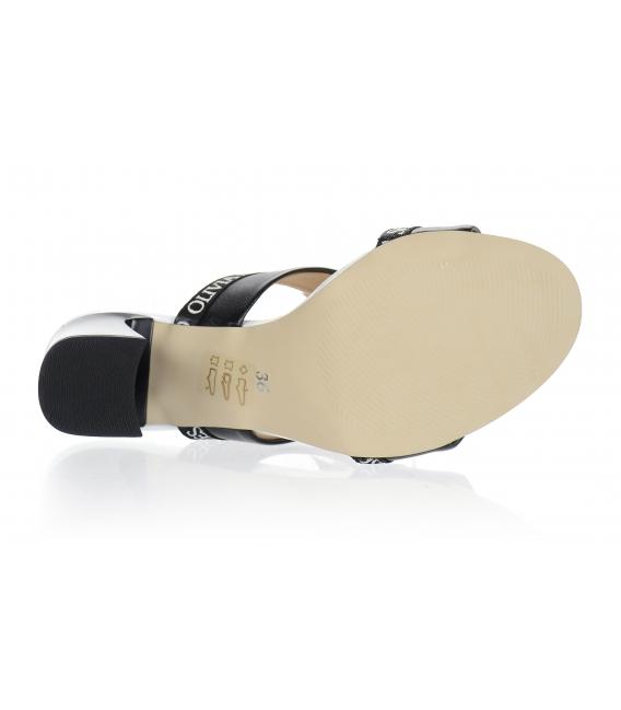 Bielo čierne elegantné šľapky na vysokom podpätku DSL2259